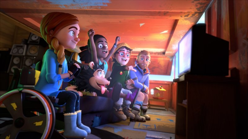 (v.l.n.r.) Rubi, Fletscher, JJ, Torte und Jack feuern per Live-Schaltung Dennis an, der sich als Wildnis-Jack verkleidet hat, um dessen Mission zu erfüllen. – Bild: SUPER RTL