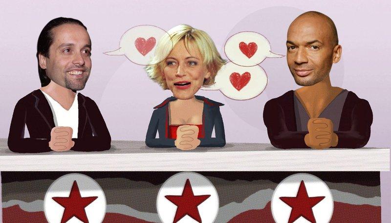 Animation, die Popstars-Jury – Bild: PHOENIX/ZDF/Kaiserbrand/studio.tv.