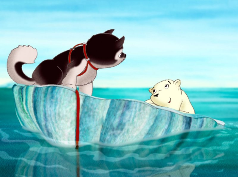 Schlittenhund Nanouk sucht seine Mama. Ob der kleine Eisbär ihm helfen kann?– Bild: WDR/Cartoon-Film
