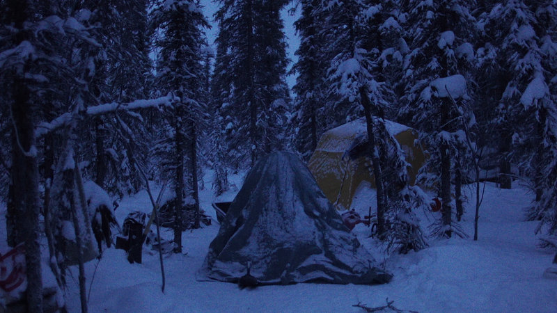 The crew's tents sitting snow-covered in the woods. – Bild: Copyright: Discovery Communications, Inc. For Show Promotion Only
