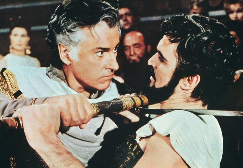 ARD SODOM UND GOMORRHA (sodom e gomorra), Italien/Frankreich 1961, Regie Robert Aldrich, am Sonntag (05.04.15) um 02:55 Uhr im Ersten. Lot (Stewart Granger, li.) und sein Erzfeind Astartoh (Stanley Baker) liefern sich einen Kampf auf Leben und Tod. – Bild: ARD Degeto