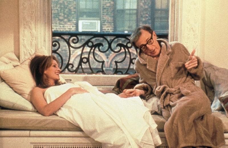 Als erfolgloser Schriftsteller hat es der grüblerisch-komplizierte Joe (Woody Allen) nicht leicht im Leben. Das weiß auch die schöne Von (Julia Roberts). – Bild: ZDF und Kirch-Media