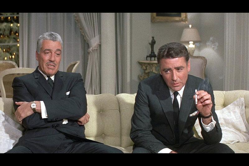 Mafia-Pate Duke Santos (Cesar Romero, li.) redet seinem zukünftigen Stiefsohn Jimmy Foster (Peter Lawford, re.) ins Gewissen. – Bild: ZDF / © Warner Brothers
