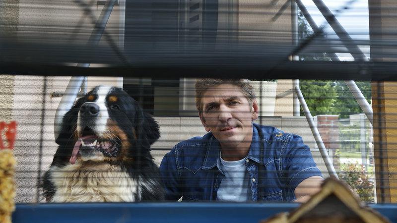 Fritz Fuchs (Guido Hammesfahr) und Keks vor dem leeren Hamsterkäfig. Wo mag sich der Goldhamster bloß verstecken? – Bild: ZDF und Antje Dittmann