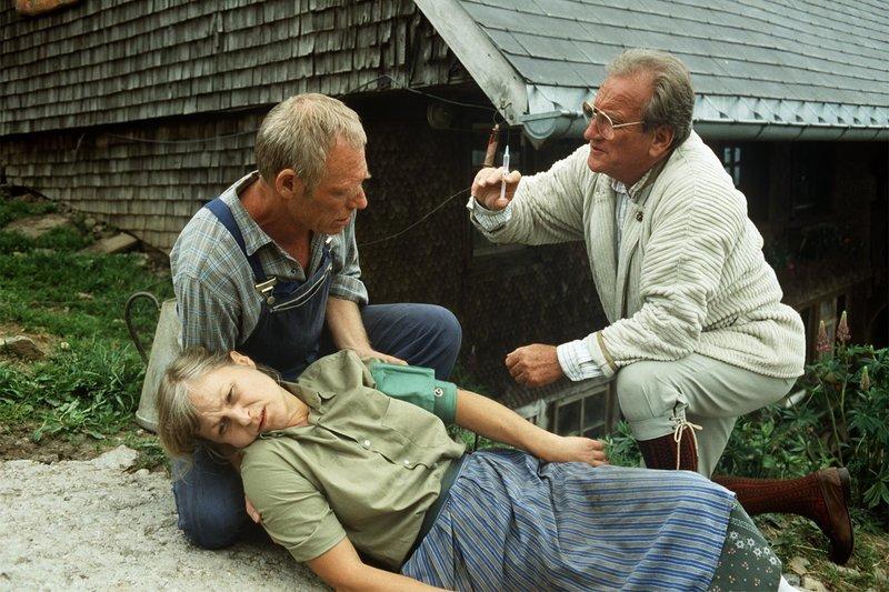 Die Bäuerin Irmtraud Kritz (Irmhild Wagner) erleidet einen Kreislaufkollaps. Ihr Mann (Horst A. Reichel, l.) ruft Dr. Neupert (Dieter Eppler), der erste Hilfe leistet. – Bild: ZDF und Thomas Waldhelm.