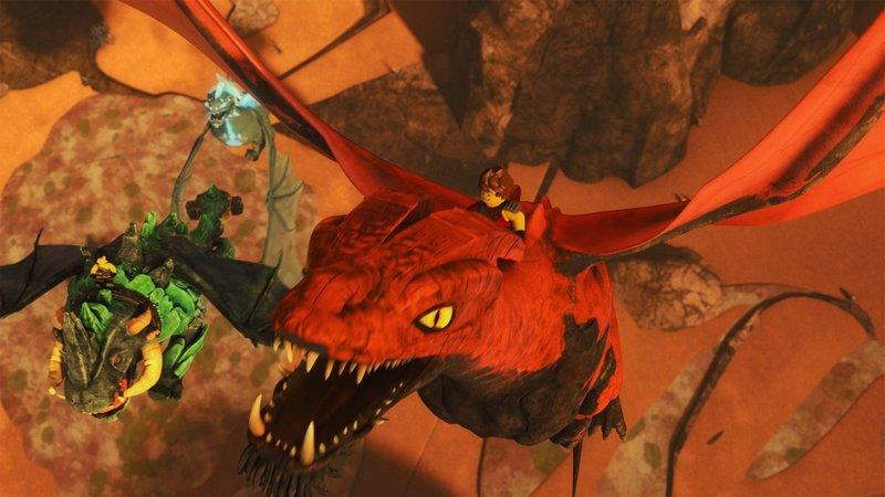 Die Mutter der Drachen (r.) ist gewillt, die Ninjas wieder zurück nach Ninjago zu bringen. – Bild: SUPER RTL