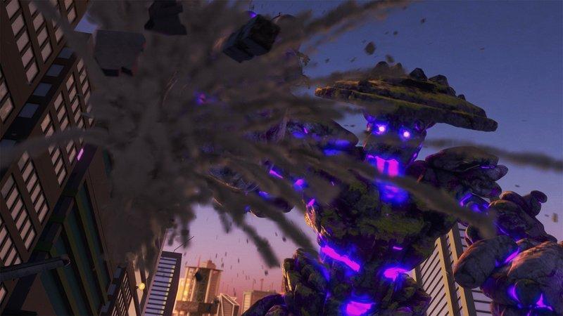 Garmadons Riese zerstört die Stadt. – Bild: SUPER RTL