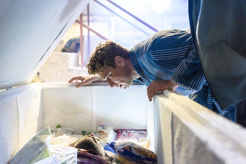 Maik (Daniel Donskoy) erfährt von dem klitzekleinen Problem: Jureks Leiche liegt noch in Marias Tiefkühltruhe. – Bild: TVNOW / J. Feldhagen