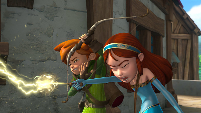 Marian versucht, die Diebe mit einem Zauberspruch aufzuhalten. Robin Hood ahnt, dass das schief geht. – Bild: ZDF/Method Animation/DQ Entertainment/Fabrique d'images/ZDF Enterprises/De Agostini