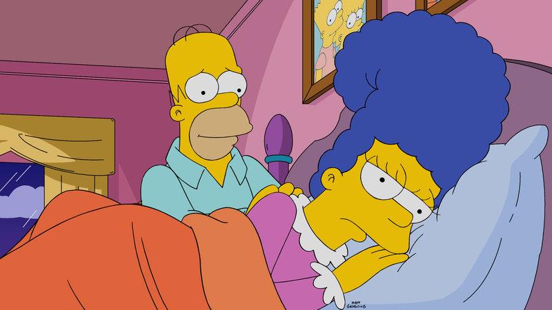 Aufgrund diverser Eskapaden von Homer (l.) ist Marge (r.) mal wieder mehr als missmutig. Um sie etwas aufzuheitern, beschließt er, mit ihr nach Paris zu reisen. Doch wird das gutgehen? – Bild: 2015 Fox and its related entities. All rights reserved.