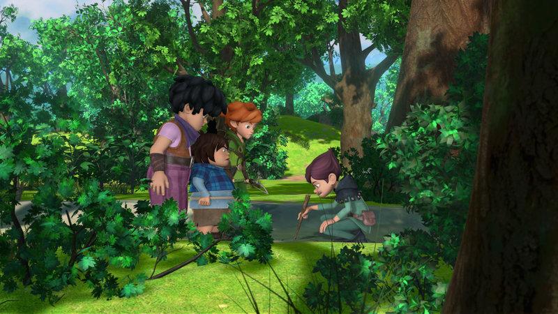 Robin (2.v.r.) und seine Freunde Little John (l.) und Tuck (M.) werden im Wald von Landrin (r.) in eine Falle gelockt. – Bild: ZDF und 2014 Method Animation