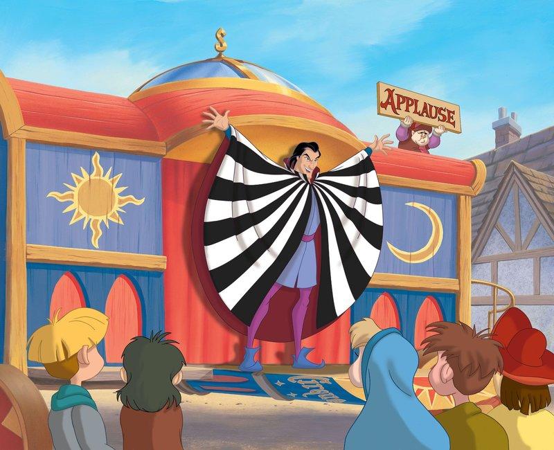 """Eines Tages schlägt der Wanderzirkus des zwielichtigen Sarousch seine Zelte direkt unter Quasimodos Glockenturm auf. Wenig später verschwindet eine wertvolle Glocke aus der Kathedrale """"La Fidèle"""" ... – Bild: Disney Channel"""