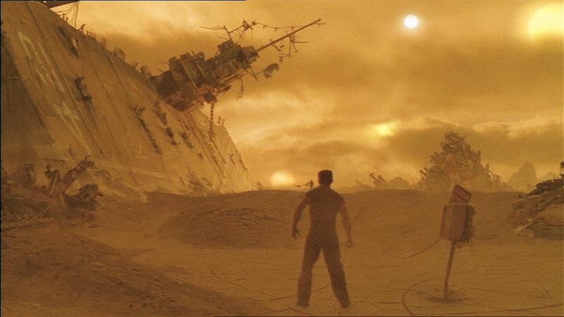 Auf dem Müllplaneten wo man Todd (Kurt Russel) ausgesetzt hat, stößt er auf friedlebende Menschen. Die sind den neuen Supersoldaten ein Dorn im Auge, weshalb diese die Siedler gnadenlos ausrotten wollen. – Bild: BDP