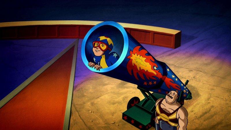 Velma soll mit Hilfe einer Kanone in die Luft geschossen werden. – Bild: Super RTL