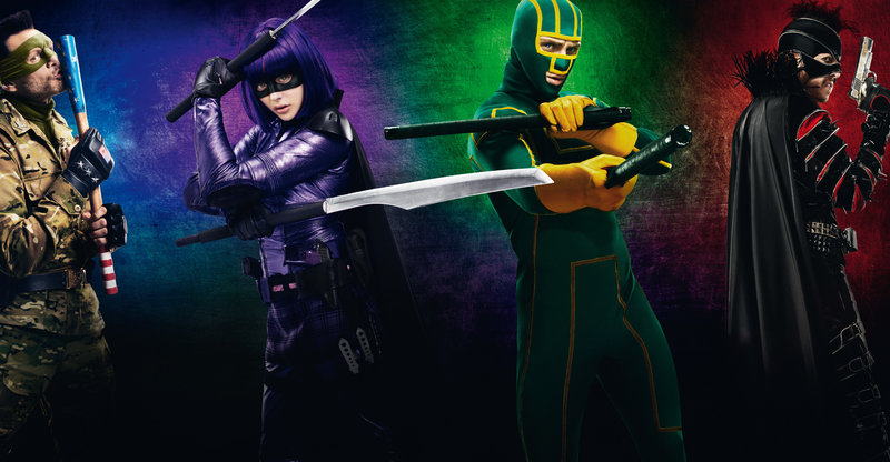 Jim Carrey (Colonel Stars and Stripes), Chloë Grace Moretz (Mindy Macready / Hit-Girl), Aaron Taylor-Johnson (Dave Lizewski / Kick-Ass), Christopher Mintz-Plasse (Chris D'Amico / Mother Fucker). – Bild: ORF