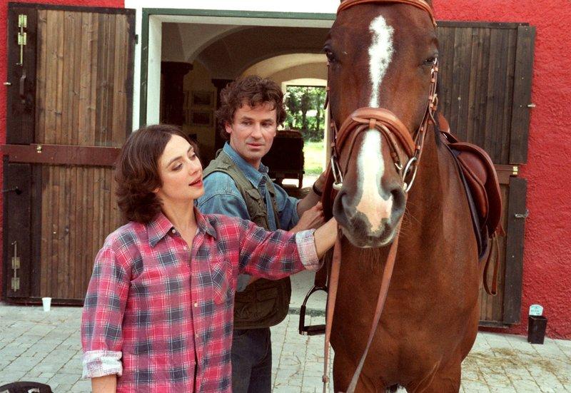Felicitas (Julia Richter) und ihr alter Freund Valentin (Timothy Peach) haben nicht nur eine gemeinsame Vorliebe für Pferde. – Bild: MDR/ARD Degeto/Katrin Knoke