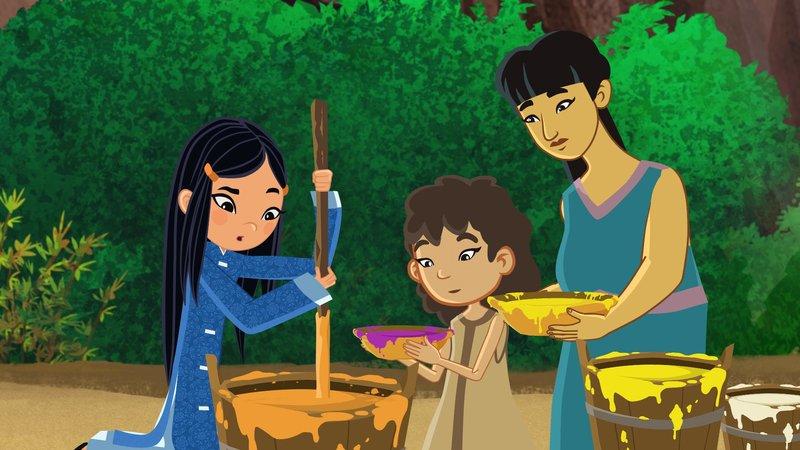 """""""Die Abenteuer des jungen Marco Polo"""", """"Abenteuer in der Drachenbucht."""" So ein Pech! Shi Las verschollene Mutter ist schon vor langer Zeit aus Hangzhou weggezogen und hat sich auf den Weg ins weit entfernte Java gemacht. Nachdem sich die erste Enttäuschung gelegt hat, sind Marco, Shi La, Luigi und Fledermaus Fu Fu aber sofort bereit, weiter zu ziehen. Auf dem Weg nach Java stranden die Vier in der Ha Long Bucht. Schlimm genug. Aber es kommt noch schlimmer. Eine Banditen-Bande treibt dort ihr Unwesen und quetscht das Allerletzte aus den armen Dorfbewohnern heraus. Marco und seine Freunde beschließen sofort zu helfen. Ein großer Drache, der seit Jahrhunderten die Bucht beschützt, soll die Verbrecher in die Flucht schlagen. Um den Drachen zu zähmen, haben Marco, seine Freunde und die Dorfbewohner eine Menge zu tun. Und regnen darf es auch auf keinen Fall - das würde alles zunichte machen. – Bild: ORF 1"""