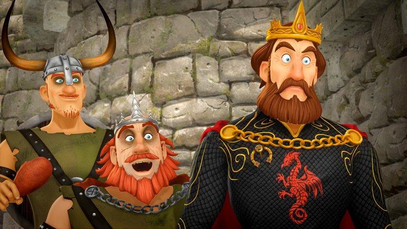 """""""Arthur und die Freunde der Tafelrunde"""", """"Die Nadel der Gerechtigkeit."""" König Uther und König Horsa veranstalten ein Turnier um den Besitz von Tintagel. Da Arthur nicht adelig ist, kann er sich nur mithilfe eines Tricks daran teilnehmen. Sein Gegner ist König Horsas Sohn Föhr. Der Einsatz ist hoch: Sollte Arthur verlieren, würde nicht nur Tintagel, sondern ganz Camelot in die gierigen Hände von König Horsa fallen! – Bild: Das Erste"""