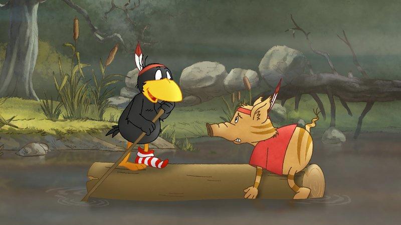 Socke und Stulle wollen ihren Indianermut im Sumpf beweisen. – Bild: SWR/NDR/Akkord Film