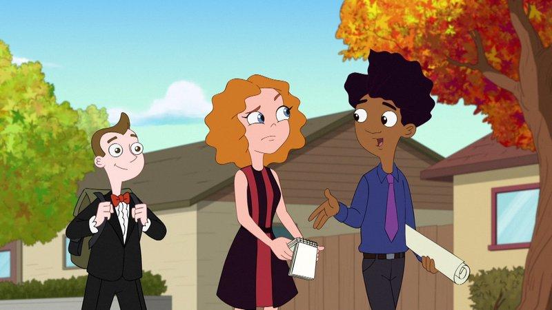 """L-R: Milo Murphy (voiced by """"Weird Al"""" Yankovic), Melissa Chase (voiced by Sabrina Carpenter), Zack Underwood (voiced by Mekai Curtis) – Bild: Disney Channel (DE)"""