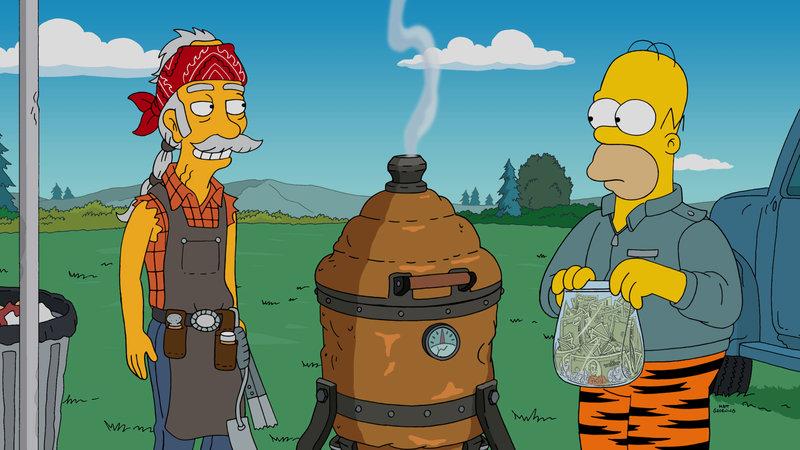 """""""Die Simpsons"""", """"Grilling Homer."""" Die Waschmaschine der Simpsons streikt. Anstatt jedoch ein neues Gerät zu besorgen, kauft Homer lieber einen High-End-Griller. Die Investition scheint sich zu lohnen, denn Homer zaubert mit dem Bräter wahre Meisterwerke auf den Tisch. Bald meldet sich Profi-Griller Scotty Boom bei ihm und fordert Homer zu einem Kräftemessen heraus. Sein Sieg wäre Homer sicher, würde kurz vor dem Duell nicht sein Griller verschwinden. Umgehend machen sich Bart und Lisa auf die Suche nach dem Dieb. – Bild: ORF eins"""