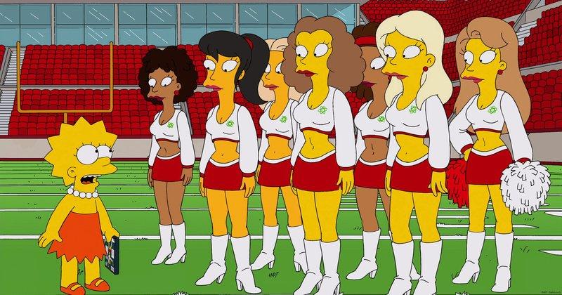 """Lisa (l.) wird von den Cheerleadern des örtlichen Profifootballteams """"Springfield Atoms"""" rekrutiert. – Bild: ORF"""