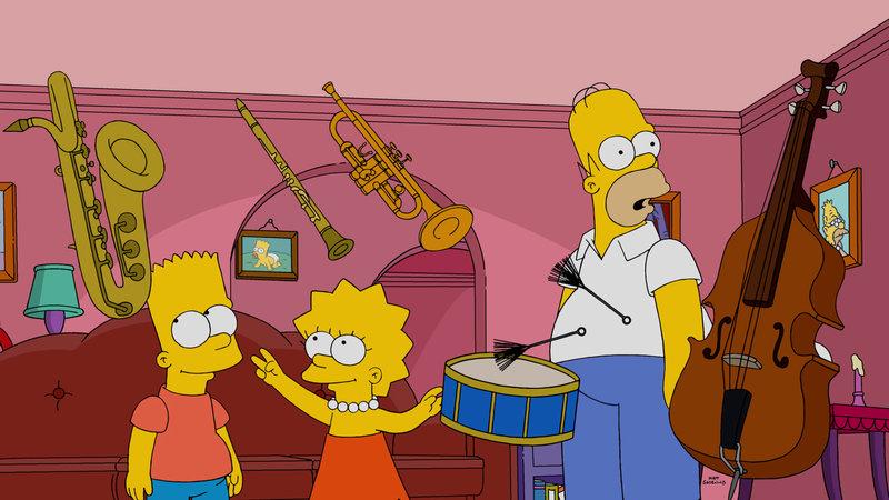 Lisa (M.), Bart (l.) und Milhouse bekommen durch eine radioaktiver Strahlung Superkräfte. Was vor allem Homer (r.) zu spüren bekommt ... – Bild: 2015 Fox and its related entities. All rights reserved. Lizenzbild frei