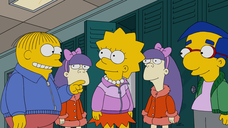 Erleben einen ganz besonderen Tag im Aqua-Park: Lisa (M.), Milhouse (r.), Ralph (l.), Sherri (2.v.l.) und Terri (2.v.r.) ... – Bild: 2015 Fox and its related entities. All rights reserved. Lizenzbild frei