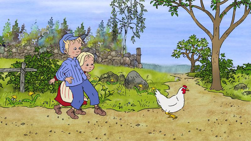 Michel und Ida wollen ein Huhn fangen. – Bild: ZDF/Filmlance International AB