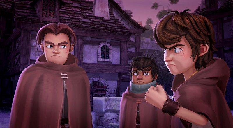 In Verkleidung stellen Arthur und seine Freunde Guineveres zukünftigem Gatten nach. – Bild: SWR/Blue Spirit Productions/Télé