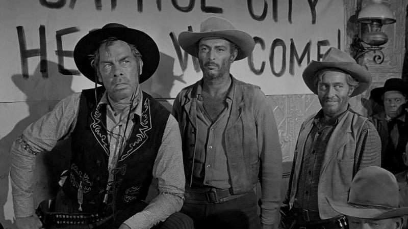 (r. - l.) Lee Marvin als Liberty Valance Edmond O'Brien als Dutton Peabody und Lee Van Cleef als Reese – Bild: Star TV