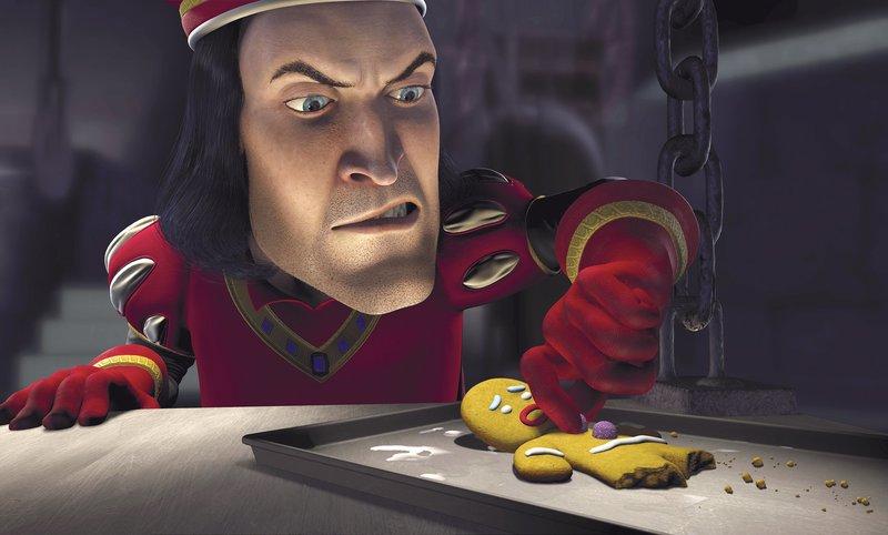 Der fiese Lord Farquaad (hinten) versucht sogar, ein hilfloses Lebkuchenmännchen auf seine Seite zu ziehen ... – Bild: Universal TV