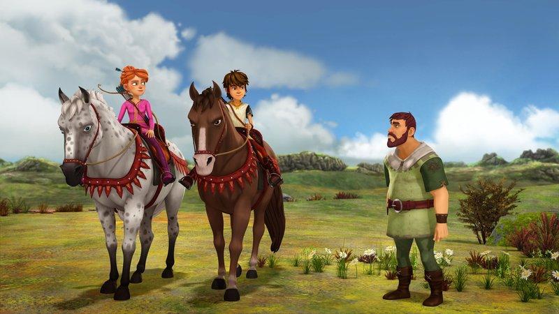 Ein Bauer erzählt Arthur und Guinevere von einem schrecklichen Oger. – Bild: ORF 1