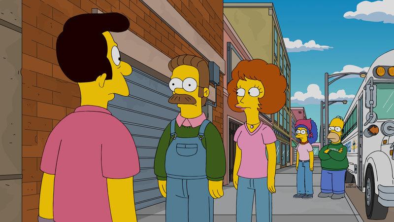 Ned Flanders (2.v.l.) gewinnt einen Ausflug in den Grand Canyon für zwei Familien. Da er diesen von der Kirche gewonnen hat, beschließt Reverend Timothy Lovejoy (l.), dass Ned und Maude (M.) Homer (r.) und Marge (2.v.r.) mit Familie zu ihrem Ausflug nehmen sollen. Doch ist das wirklich eine gute Idee? – Bild: 2015 Fox and its related entities. All rights reserved. Lizenzbild frei
