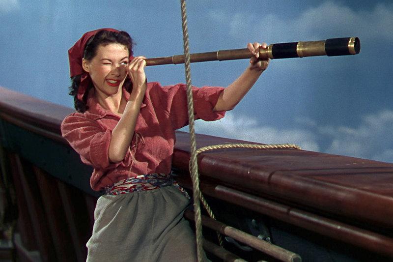 """Schnell findet Deborah (Yvonne De Carlo) Gefallen am Freibeuterleben und wird zur """"Piratenbraut"""". – Bild: ZDF / © 1950 Universal City Studios"""