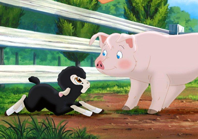 Schweinchen Wilbur hat eine neue Freundin: das Lämmchen Cardigan. Sie ist gerade erst auf die Farm gekommen und soll schon wieder verkauft werden. Wilbur will das verhindern. – Bild: SUPER RTL