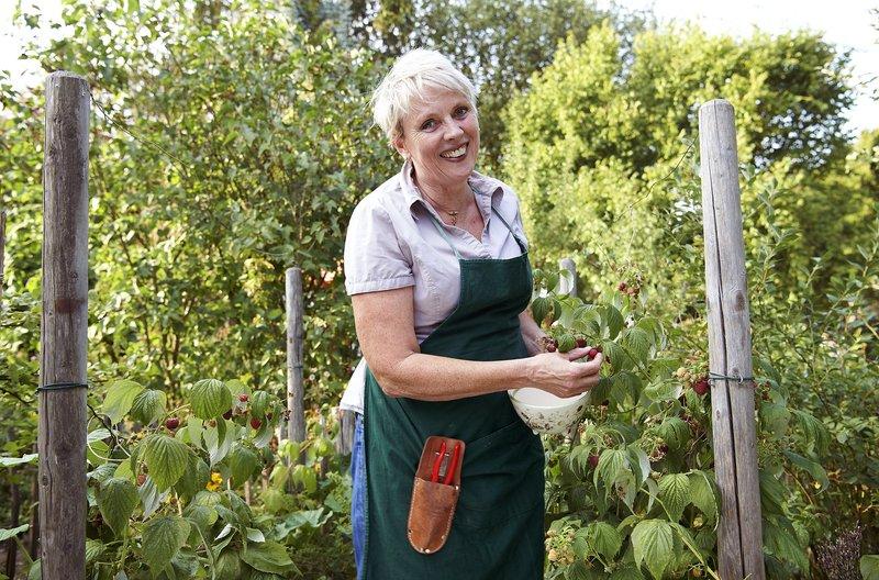 """Anne Rixmann, die aus der """"Stunksitzung"""" bekannte Schauspielerin, nennt einen 470qm großen Schrebergarten ihr Gartenglück. Für ihr Gartenfest kann sie mit selbstgeernteten Früchten beeindrucken. – Bild: WDR/Melanie Grande"""