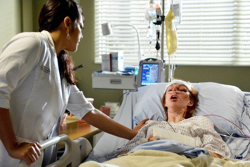 """""""Grey's Anatomy"""", """"Familienzusammenführung."""" Derek will Meredith etwas gutes tun und lädt Maggie und Dr. Weber zu einem Familiendinner ein. Als Meredith davon erfährt ist sie erbost. Ebenso ergeht es Maggie als sie vor der Türe auf Dr. Weber trifft. Sie kann ihm nicht verzeihen, dass er ihr nicht gleich die Wahrheit gesagt hat. Obwohl sich Arizona voller Elan ihrem Forschungsstipendium widmet, bekommt sie von Dr. Herman nur Kritik zu hören. Die werdenden Eltern April und Jackson bekommen Besuch von Aprils Mutter.Im Bild (v.li.): Sara Ramirez (Dr. Callie Torres), Meg Chambers Steedle (Melisa). – Bild: ORF 1"""