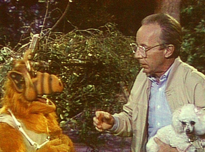 Alfs (l.) melmacanischen Urinstinkte sind geweckt und er wird zum wilden Jäger. Willie (Max Wright, r.) muss den Nachbarshund vor ihm in Sicherheit bringen ... – Bild: TM+© Warner Bros. Lizenzbild frei