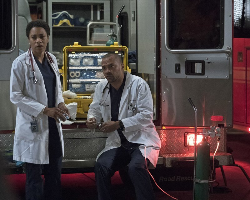 Dr. Maggie Pierce (Kelly McCreary, l.); Dr. Jackson Avery (Jesse Williams, r.) – Bild: 2017 American Broadcasting Companies, Inc. All rights reserved. Lizenzbild frei