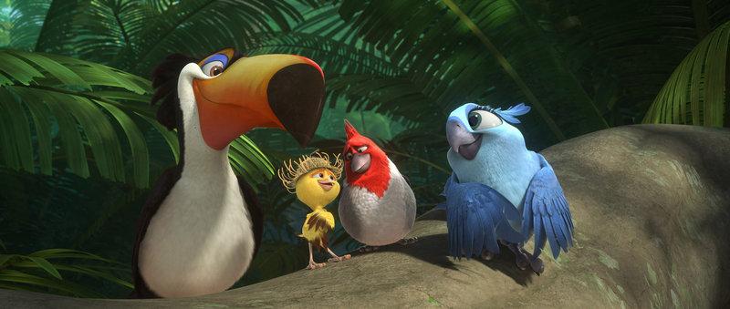 Sind absolut begeistert von der verlassenen Natur in den Regenwäldern des Amazonas: Rafael (l.), Nico (2.v.l.), Pedro (2.v.r.) und Carla (r.) ... – Bild: 2014 Twentieth Century Fox Film Corporation. All rights reserved. Lizenzbild frei