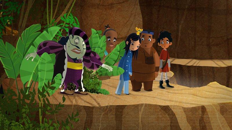 """""""Die Abenteuer des jungen Marco Polo"""", """"Die verschollene Goldmine."""" Es heißt, die Miene des Königs Salomon beherberge einen riesigen Schatz. Sie soll sich irgendwo am Sambesi-Fluss befinden. Dort sind Marco, Shi La und Luigi gerade unterwegs. Sie wollen nach Madagaskar, um Shi Las Mutter vor Piraten zu retten. Zu ihrer Überraschung stoßen sie auf einen alten Bekannten: Raffuzio, ein gieriger Händler, der einst versuchte, den Besitz der Familie Polo an sich zu reißen. Raffuzio gibt sich als wissbegieriger Professor aus. Er hat die Bewohner eines nahen Dorfes davon überzeugt, dass er aus rein wissenschaftlichen Gründen die Minen des sagenumwobenen Salomon finden muss. Marco glaubt ihm kein Wort. Dennoch begeben sich die Freunde zusammen mit dem undurchsichtigen Gauner auf Schatzsuche. Ob das gut ausgeht?! – Bild: ORF 1"""