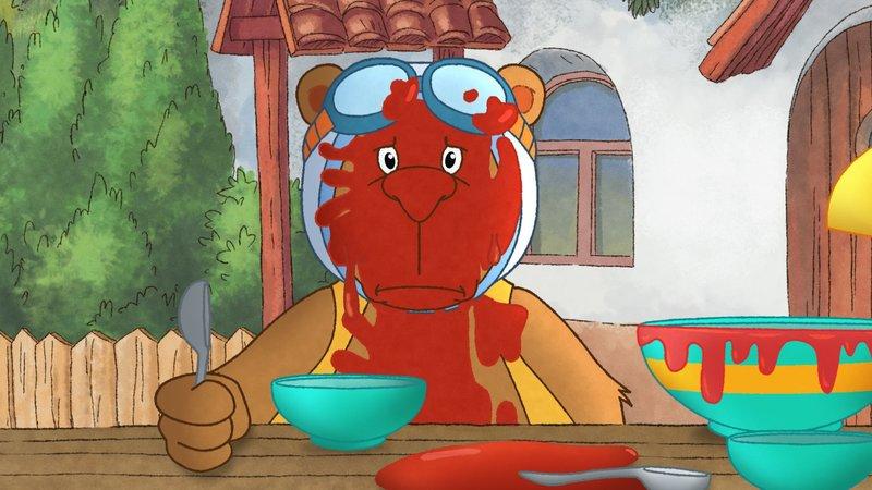 Eddi ist voll mit Tomatensosse. – Bild: ORF eins