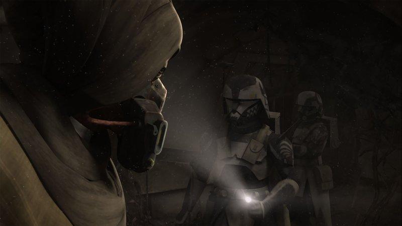 Meister Plo Koon und sein Gefolge finden das alte Raumschiff vom Jedi-Meister Sifo-Dyas. Gemeinsam durchsuchen sie es. – Bild: Super RTL