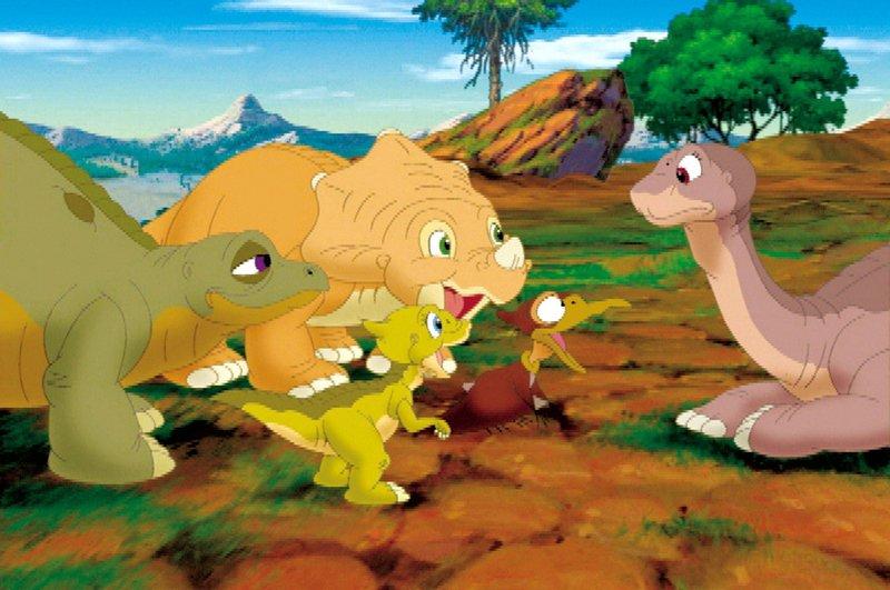 Litllefood (re.) und seine Freunde (v. li. n. re.) Cera, Spike, Ducky und Petrie begeben sich auf eine lange und spannende Reise. – Bild: SUPER RTL