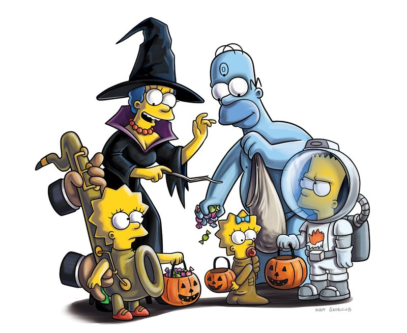 """""""TREEHOUSE OF HORROR XXII"""" - Gruselige Geschichten mit Lisa (l.), Marge (2.v.l.), Maggie (M.), Homer (2.v.r.) und Bart (r.) Simpson ... – Bild: und TM Twentieth Century Fox Film Corporation - Alle Rechte vorbehalten Lizenzbild frei"""