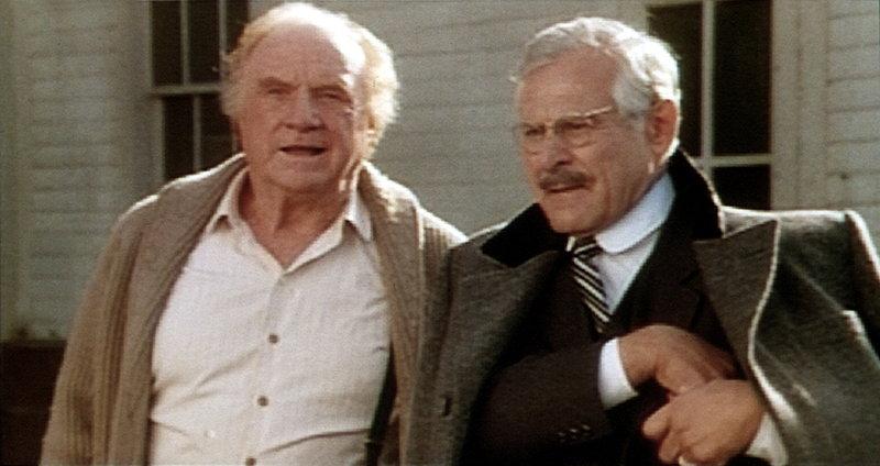 Moravia (Jack Warden, l.) und Bruno Hansen (Sam Wanamaker, r.) machen sich große Sorgen um Edgar und Tillie, die mit dem Flugzeug in der Wildnis abgestürzt sind ... – Bild: Tele 5