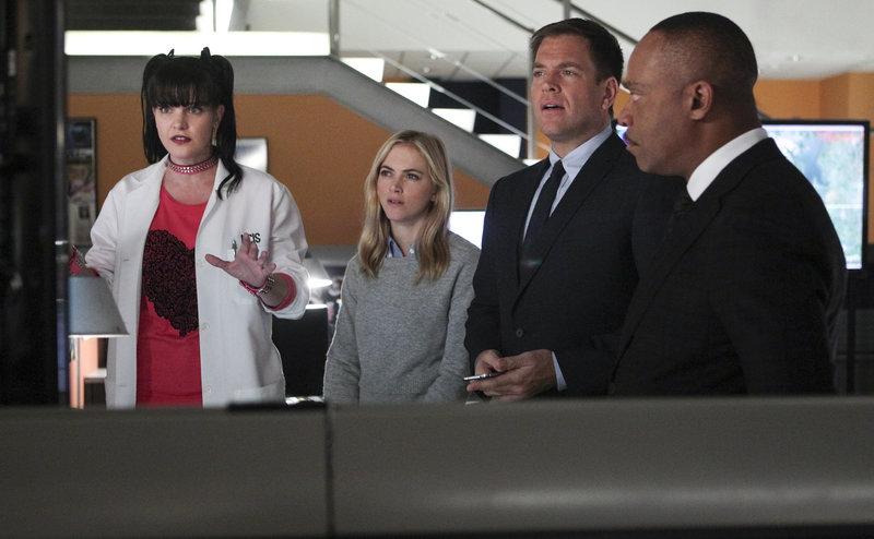 Ein neuer Fall wartet auf das Team: Abby (Pauley Perrette, l.), Ellie (Emily Wickersham, 2.v.l.), Anthony (Michael Weatherly, 2.v.r.) und Vance (Rocky Carroll, r.) ... – Bild: © CBS Television
