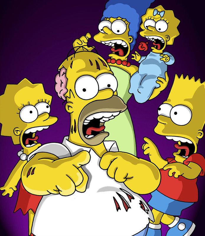 Abrakadabra! Wie jedes Jahr zu Halloween passieren merkwürdige Dinge in Springfield. Da kann es schon mal vorkommen, dass auf Homer (2.v.l.) ein Fluch lastet, der ihn zum Unglücksbringer für seine Lieben werden lässt. – Bild: ORF eins