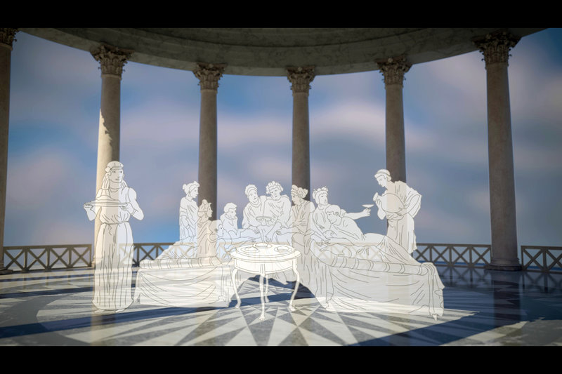 Kaiser Nero war verrückt genug, um seinem Größenwahn auch in seiner Palastanlage in Rom Ausdruck zu verleihen: Für seine Bankette ließ er einen Speisesaal mit einer Plattform konstruieren, die sich drehte. – Bild: ARTE France / © Alle Rechte vorbehalten